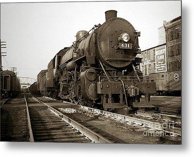 Lehigh Valley Steam Locomotive 431 At Wilkes Barre Pa. 1940s Metal Print