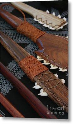 Lei O Mano Hawaiian Koa Shark Teeth Dagger And War Clubs Metal Print by Sharon Mau
