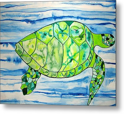 Metal Print featuring the painting Leilani The Hawaiian Sea Turtle by Erika Swartzkopf