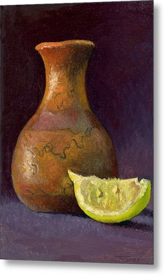 Lemon And Horsehair Vase A First Meeting Metal Print