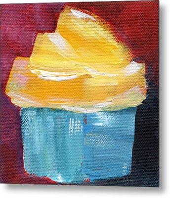 Lemon Cupcake- Art By Linda Woods Metal Print by Linda Woods