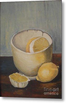 Lemon In A Bowl Metal Print