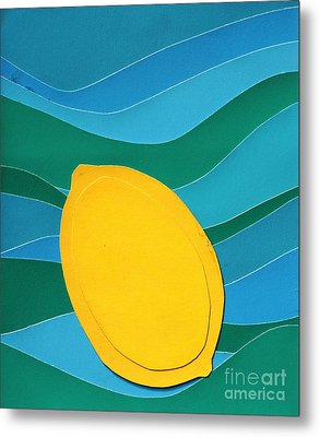 Metal Print featuring the mixed media Lemon Slice by Vonda Lawson-Rosa