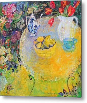 Lemon Tea In The Garden Metal Print by Sylvia Paul