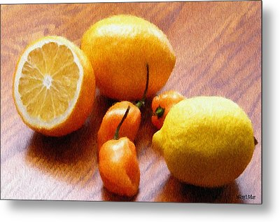 Lemons And Peppers Metal Print by Jeff Kolker