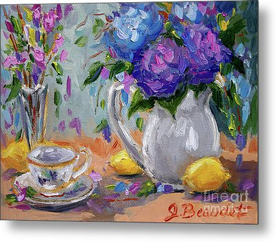 Metal Print featuring the painting Lemons And Purple  by Jennifer Beaudet