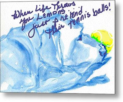 Lemons And Tennis Balls Metal Print by Sheila Wedegis
