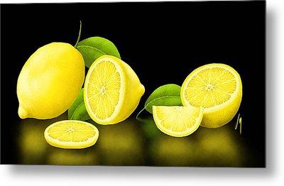 Lemons-black Metal Print by Veronica Minozzi