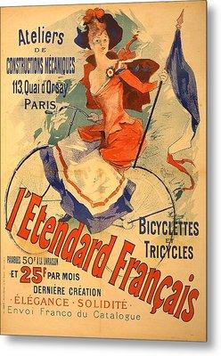 L'entard Francais Vintage French Advertising Poster 1891 Metal Print