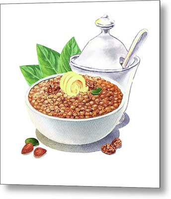 Metal Print featuring the painting Lentil Soup Watercolor Food Illustration by Irina Sztukowski