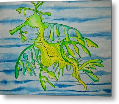 Leon The Leafy Dragonfish Metal Print by Erika Swartzkopf
