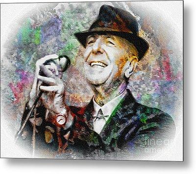 Leonard Cohen - Tribute Painting Metal Print by Ian Gledhill