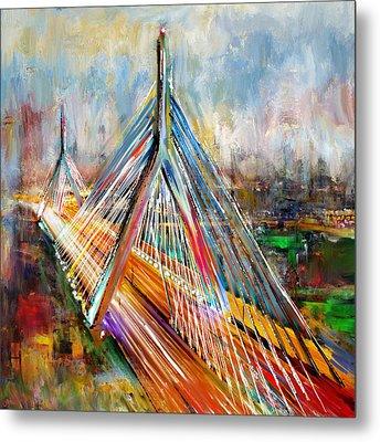 Leonard P. Zakim Bunker Hill Memorial Bridge 219 1 Metal Print by Mawra Tahreem