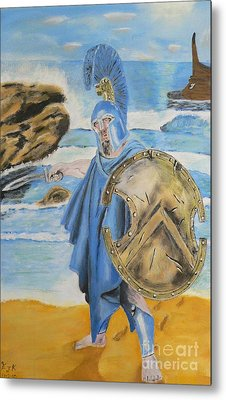 Metal Print featuring the painting Leonidas King Of The Spartans   by Eric Kempson