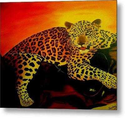 Leopard On A Tree Metal Print by Manuel Sanchez