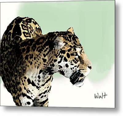 Metal Print featuring the digital art Leopard by Walter Chamberlain