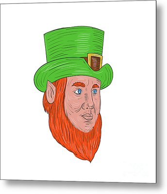 Leprechaun Head Three Quarter View Drawing Metal Print by Aloysius Patrimonio