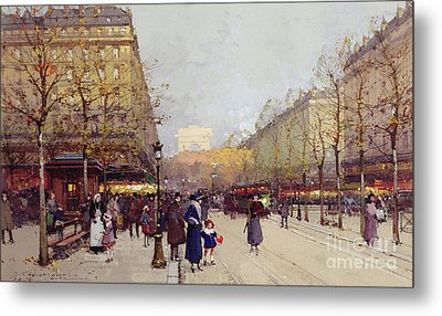 Les Champs Elysees, Paris Metal Print by Eugene Galien-Laloue