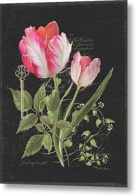 Les Fleurs Magnifiques En Noir - Parrot Tulips Vintage Style Metal Print by Audrey Jeanne Roberts