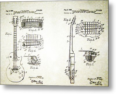 Les Paul Guitar Patent 1955 Metal Print by Bill Cannon