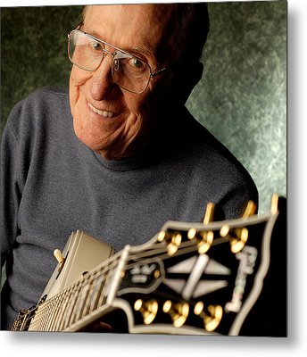 Les Paul With His White Gibson Les Paul Custom Guitar By Gene Martin Metal Print