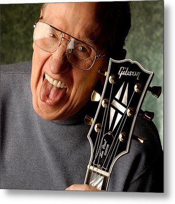 Les Paul With Tongue Out By Gene Martin Metal Print