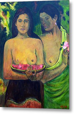 Metal Print featuring the painting Les Seins Aux Fleurs Rouges by Tom Roderick