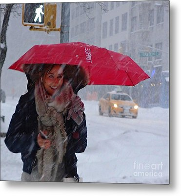 L Esprit De New York - Winter In New York Metal Print by Miriam Danar