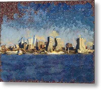 Metal Print featuring the mixed media Less Wacky Philly Skyline by Trish Tritz