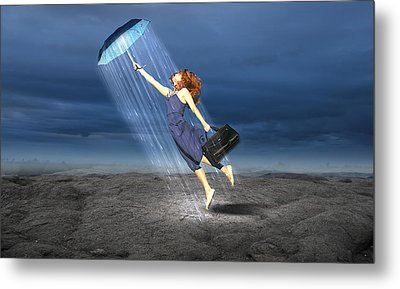 Metal Print featuring the mixed media Let It Rain by Marvin Blaine