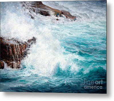 Let There Be Waves Metal Print by Candace D Fenander