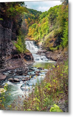 Letchworth Lower Falls In Autumn Metal Print
