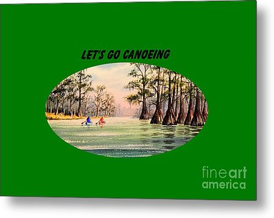Metal Print featuring the painting Let's Go Canoeing by Bill Holkham