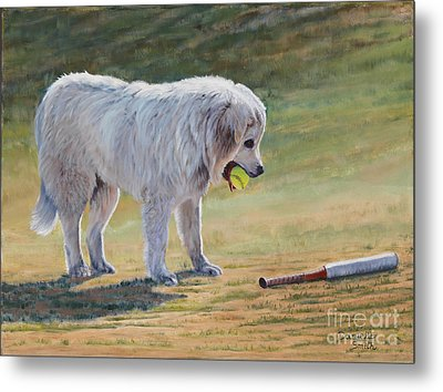 Let's Play Ball - Great Pyrenees Metal Print
