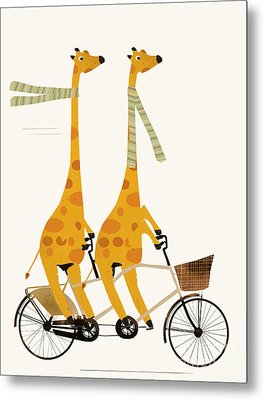 Metal Print featuring the painting Lets Tandem Giraffes by Bri B