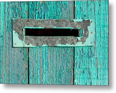 Letter Box On Blue Wood Metal Print by John Williams