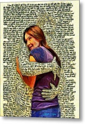 Letter Hug Metal Print