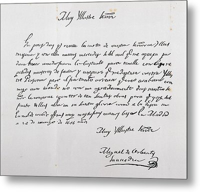Letter Written To Archbishop Of Toledo Metal Print by Vintage Design Pics