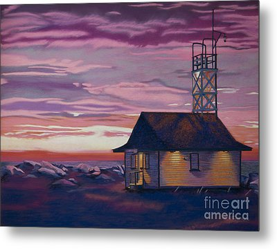 Leuty Life Guard House Metal Print by Tracy L Teeter