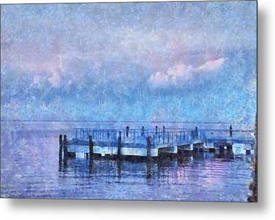 Metal Print featuring the mixed media Lewes Pier by Trish Tritz