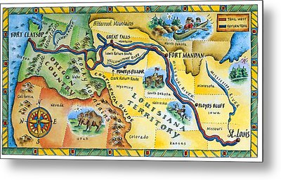 Lewis & Clark Expedition Map Metal Print by Jennifer Thermes