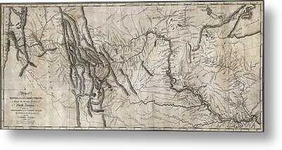 Lewis And Clark Hand-drawn Map Of The Unknown  1804 Metal Print