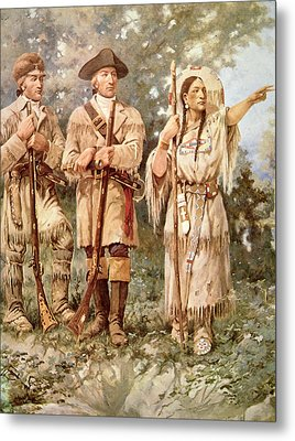 Lewis And Clark With Sacagawea Metal Print