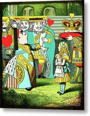 Lewis Carrolls Alice, Red Queen And Cards Metal Print