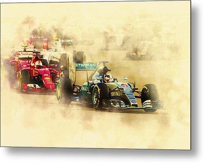 Lewis Hamilton Leads Again Metal Print