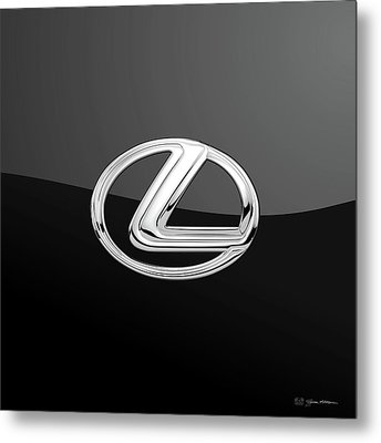Lexus - 3d Badge On Black Metal Print by Serge Averbukh