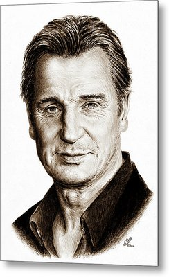 Liam Neeson Sepia Metal Print by Andrew Read