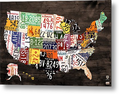 License Plate Map Of The United States - Warm Colors / Black Edition Metal Print by Design Turnpike