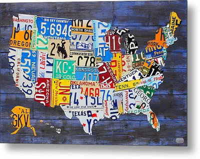 License Plate Map Of The Usa On Blue Wood Boards Metal Print by Design Turnpike