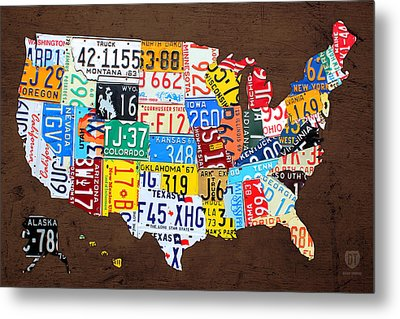 License Plate Map Of The Usa On Brown Wood Metal Print